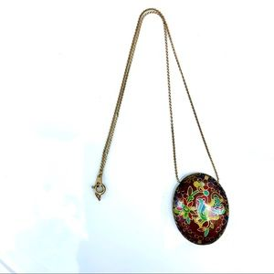 Vintage 80's Enamelled Pendant Necklace